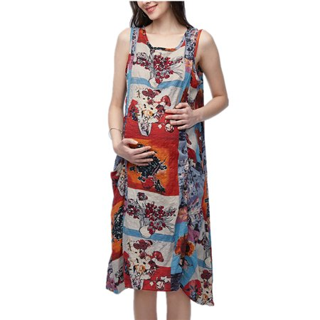 - Women's O-Neck Sleeveless Floral Print Cotton Maternity Dress