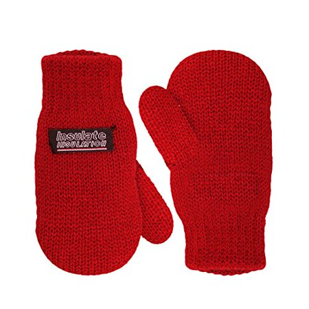 SANREMO Unisex Kids Toddler Knitted Fleece Lined Warm Winter Mittens (3-6 Years, Red)