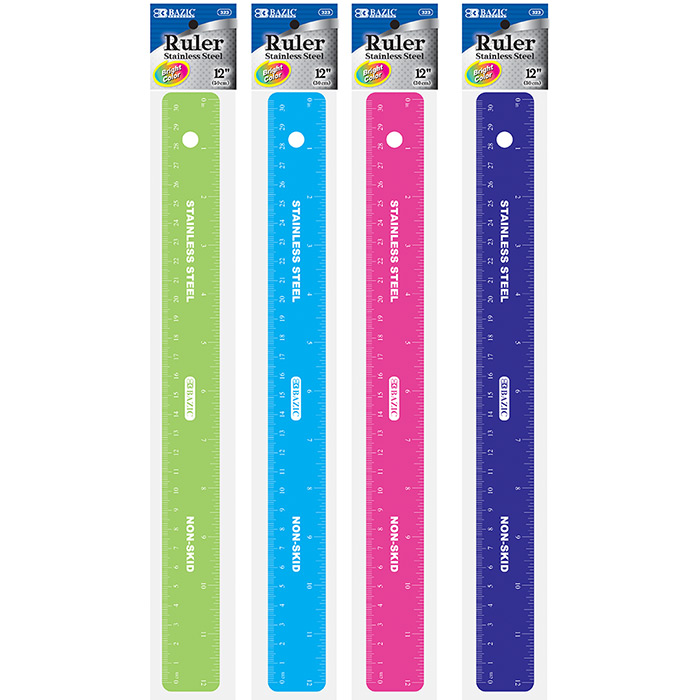 """(Price/Case of 24)Bazic Products 323-24 Asstd Color 12"""" (30Cm) Stainless Steel Ruler W/ Non Skid Back"""