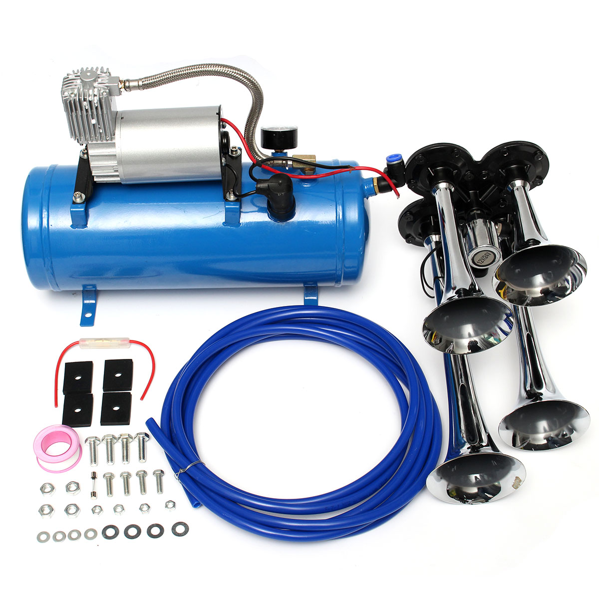 4 Trumpet Train Vehicle Air Horn 12V/24V Compressor Tubing 150dB 120 PSI Kit Car Truck Boat