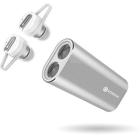 Rowkin Bit Charge Stereo with Earhooks: True Wireless Earbuds w/Charging Case. Bluetooth Headphones, Smallest Cordless (Rowkin Bit Charge Stereo True Wireless Earbuds)