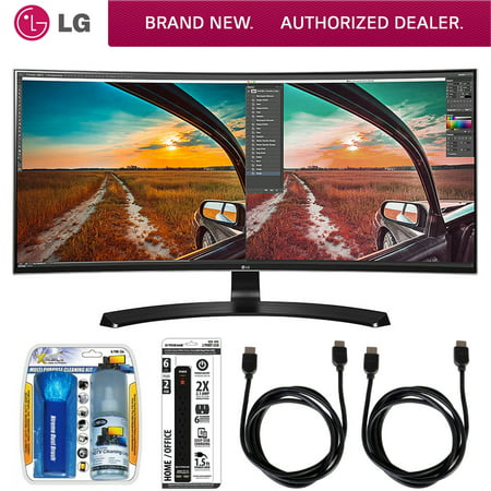 LG Curved UltraWide IPS Monitor (34UC88) with Xtreme Performance TV/LCD Screen Cleaning Kit, Xtreme 6 Outlet Power Strip & 2x General Brand HDMI to HDMI Cable 6