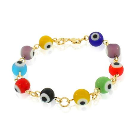 18K Yellow Gold Filled Beaded Evil Eye Protection Multicolor Link Bracelet