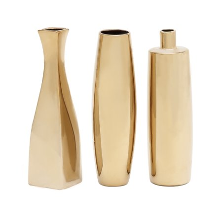 Decmode Set of 3 Glam 12 Inch Gold Ceramic Vases, (24k Gold Trimmed Vase)