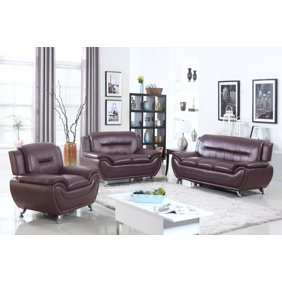 Norton Burgundy Faux Leather Modern Living Room Sofa and 2 Chair Set