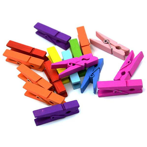 Girl12Queen 20 Pcs Multi-color Wood Clothespins Wooden Laundry Clothespins Paper Craft Clip