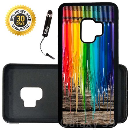 Custom Galaxy S9 Case (Melted Crayons on Wood) Edge-to-Edge Rubber Black Cover Ultra Slim | Lightweight | Includes Stylus Pen by Innosub (Custom Crayons)