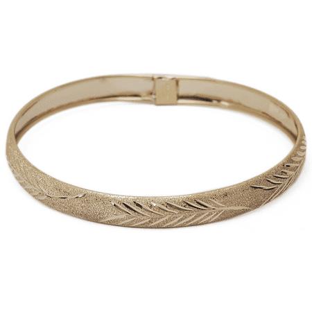 "Floreo 10k Yellow Gold bangle bracelet Flexible Round with Diamond Cut Design (0.3"")"