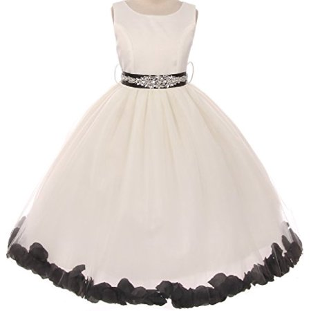 Big Girls' Crystal Rhinestone Belt Sash Flower Petals Easter Flowers Girls Dresses Ivory Black 10 (M1B5K2CB) (Flower Girl Petals)