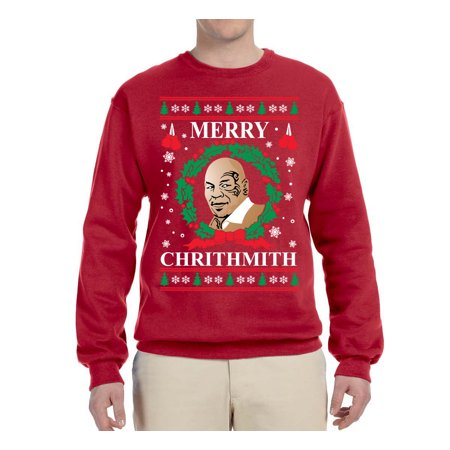 Mike Tyson Merry Christmas.Merry Chrithmith Mike Tyson Mens Ugly Christmas Graphic Crewneck Sweatshirt