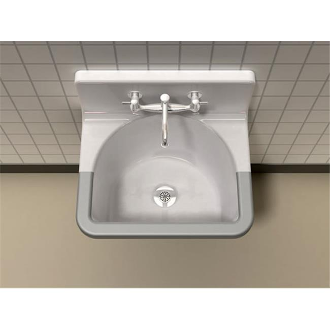 SONG S-7032-2-70 Commercial Service Sink White with 2 Faucet Holes
