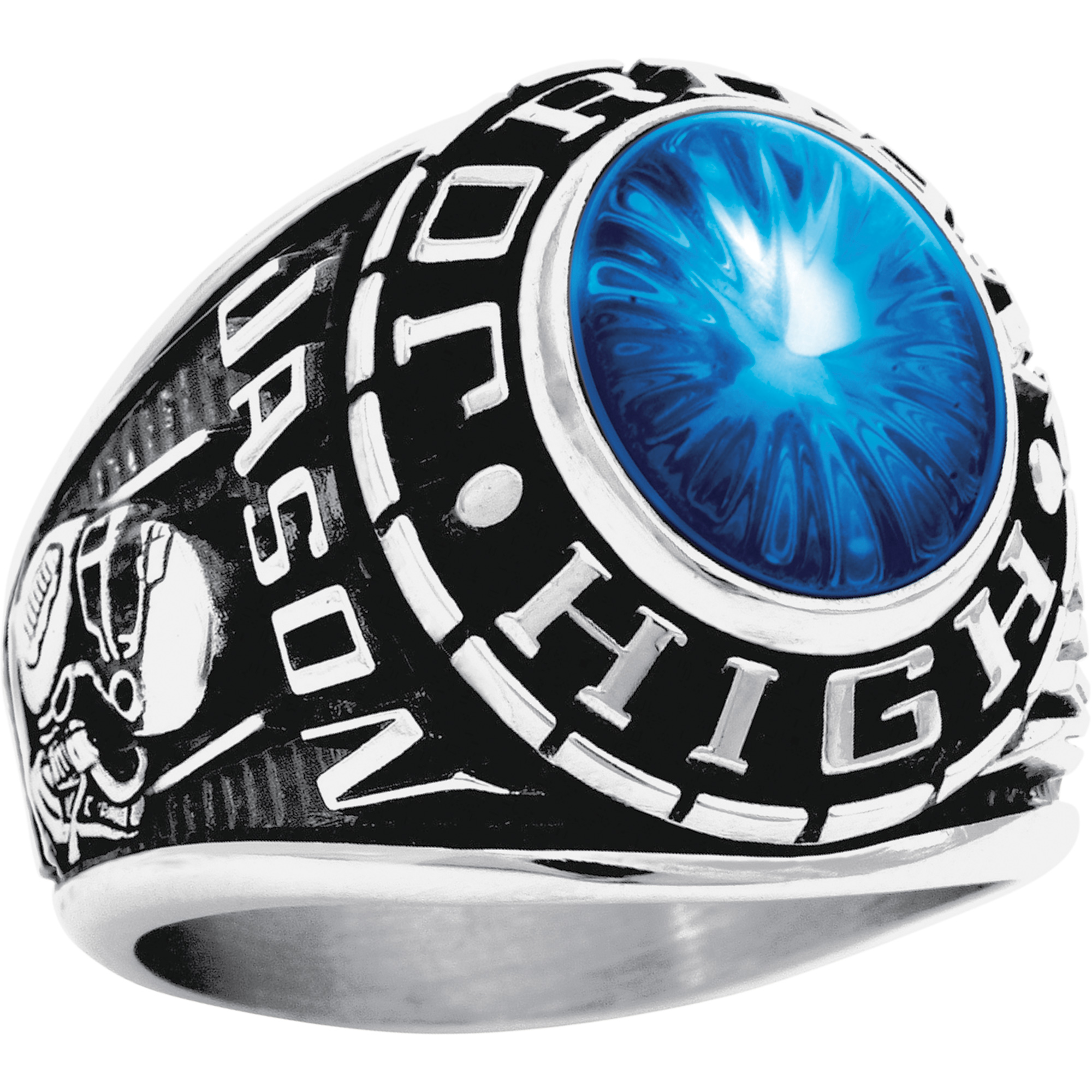 Keepsake Personalized Men's Oval Class Ring available in Valadium Metals, Silver Plus and Yellow and White Gold