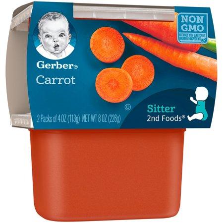 (Pack of 8) Gerber 2nd Foods Baby Food Carrot 2-4 oz Tubs