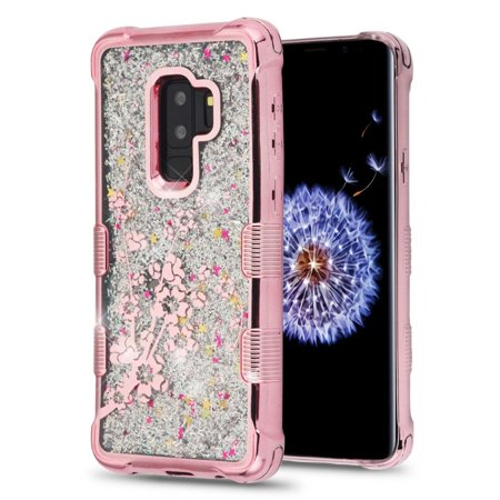Samsung Galaxy S9 Plus Case Glitter by Insten Tuff Quicksand Glitter Spring Flowers Hard Plastic/Soft TPU Rubber Case Cover Bling Sparkle For Samsung Galaxy S9 Plus S9+ Rose - Spring Bling