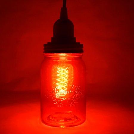 Fantado Ruby Red Mason Jar Pendant Light Kit, Regular Mouth, Clear Cord, 15FT by PaperLanternStore