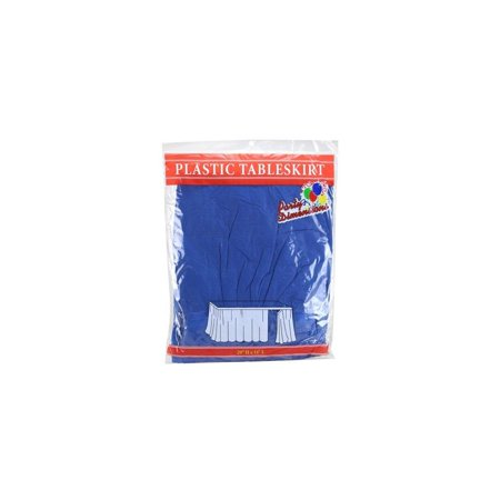 party dimensions single count plastic table skirt, 29 by 14-feet, blue