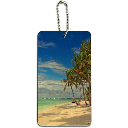 Vacation Tag - Tropical Beach Island Sky Clouds Vacation Wood ID Tag Luggage Card for Suitcase