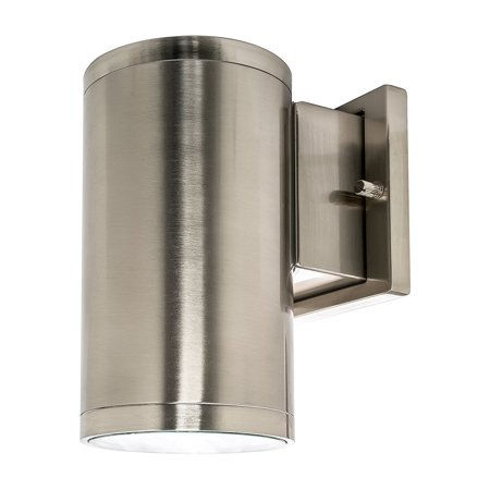 Westgate Outdoor Led Cylinder Light Wall Sconce Down Dimmable Cri80 Ip65 Waterproof 15w Brushed Nickel 3000k Warm White