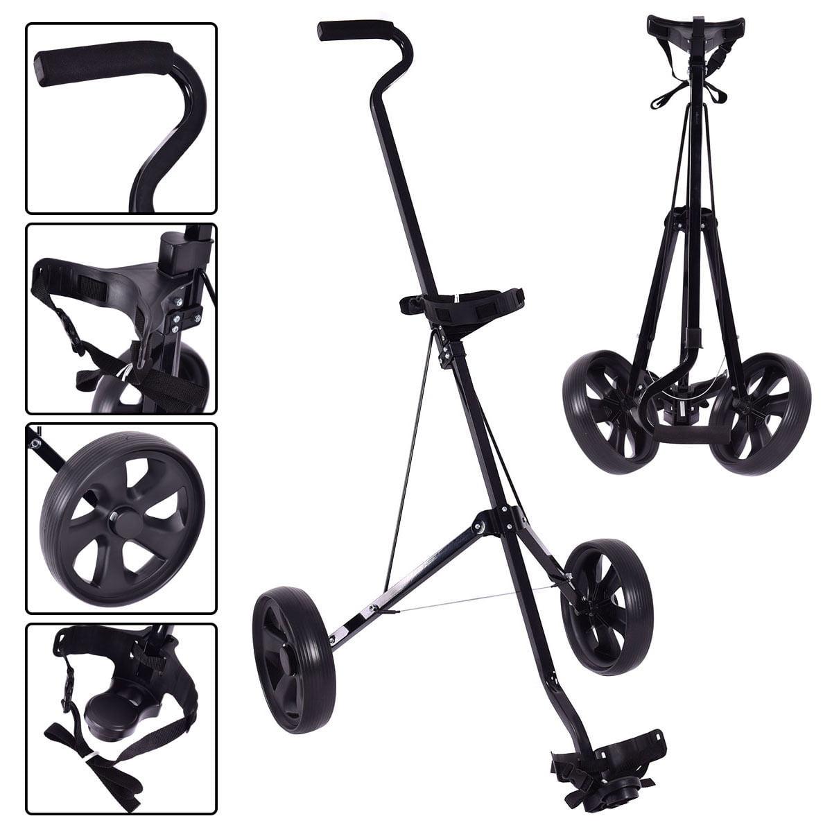 Costway Foldable 2 Wheel Push Pull Golf Club Cart Trolley Swivel Steel Lightweight Black by Costway