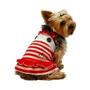Red White Sailor Navy Stripe Skirt Dress For Puppy Dog - Large (Gift for Pet)