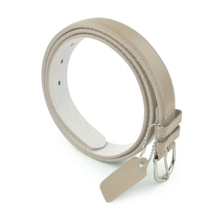 Womens Leather Belt - Solid Color Basic Pu Bonded Leather Dress Belt - Silver Polished Belt Buckle by Belle Donne - Beige Medium ()