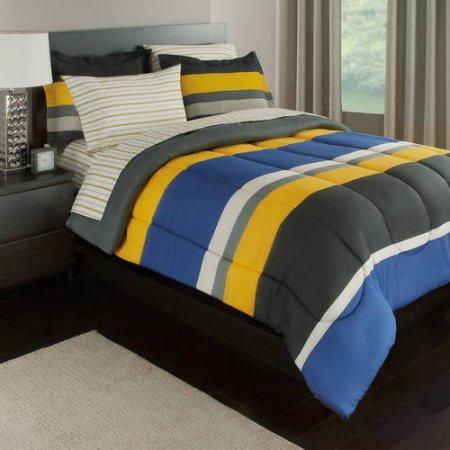 Gray Yellow Amp Blue Stripes Boys Teen Full Comforter Set