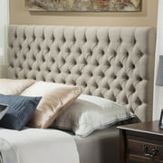 Noble House Abigail Queen Button Sand Tufted Fabric Headboard