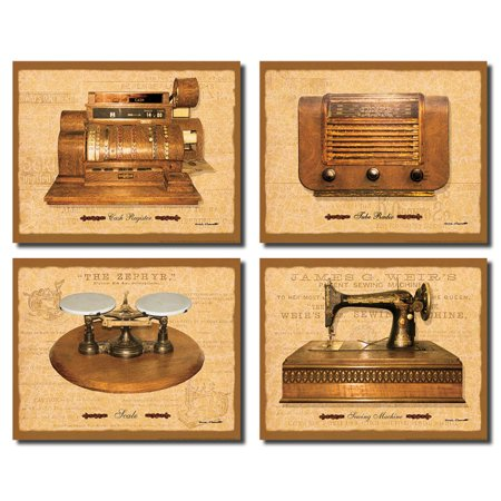 General Store I Vintage  Antique Cash Register  Sewing Machine  Radio And Scale  Four 14X11 Poster Prints