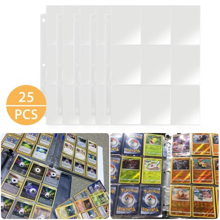 25pcs Card Sleeves Collector Binder Cards, Trading Card Storage Album Pages Card Collector Coin Holders Wallets Sleeves Set Perfect for Skylanders, Pokemon, Top Trumps Trading Card Set Sleeves