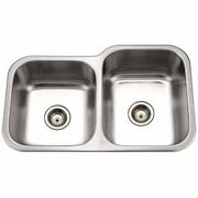Houzer MEC-3220SL-1 Medallion Classic Series Undermount Stainless Steel 60/40 Double Bowl Kitchen Sink, Left Side Prep