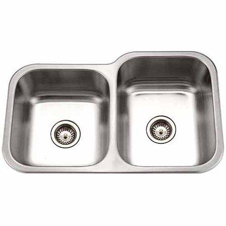 Houzer Mec 3220sl 1 Medallion Clic Series Undermount Stainless Steel 60 40 Double Bowl Kitchen Sink Left Side Prep