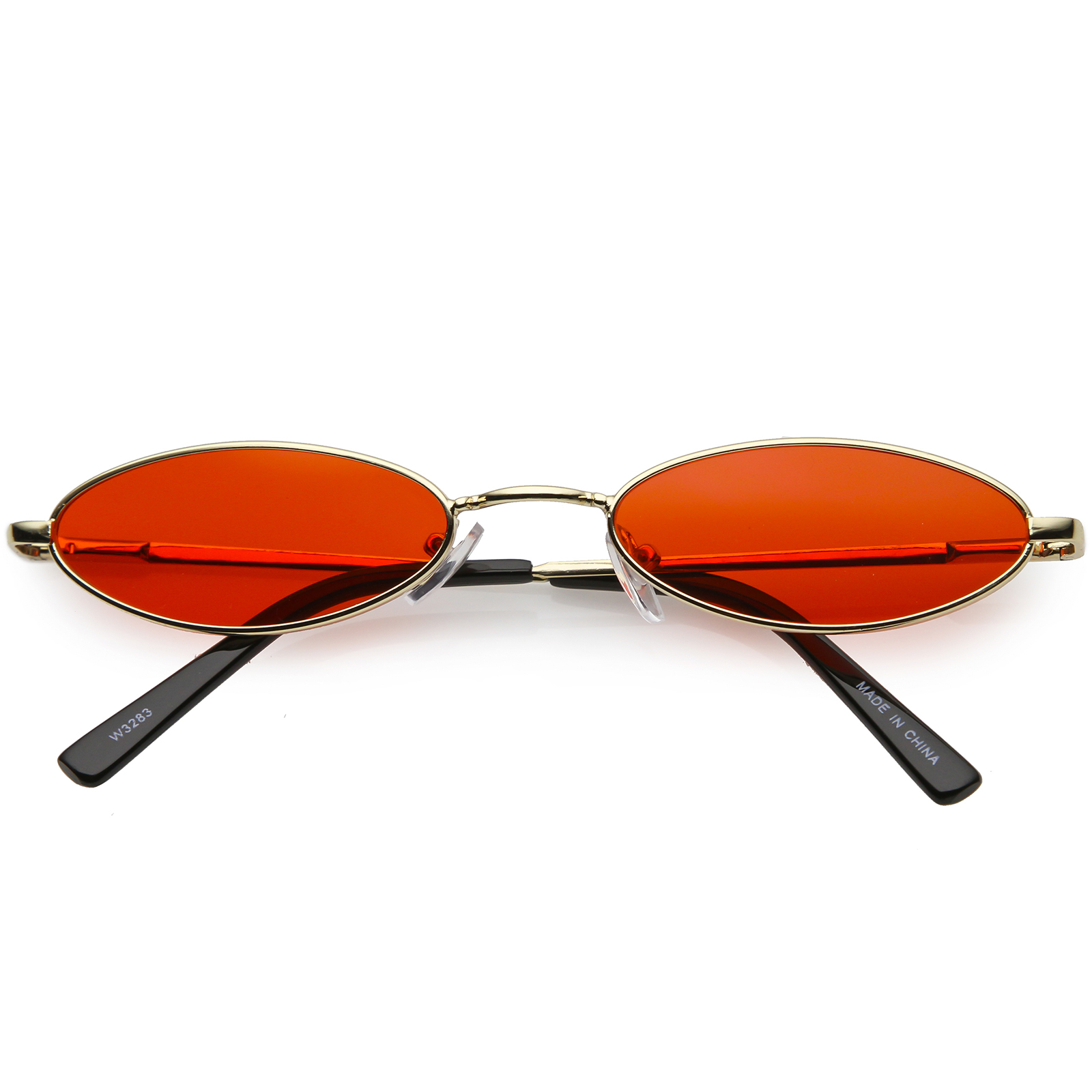 Retro Small Oval Sunglasses Slim Arms Color Tinted Flat Lens 51mm (Gold / Red)