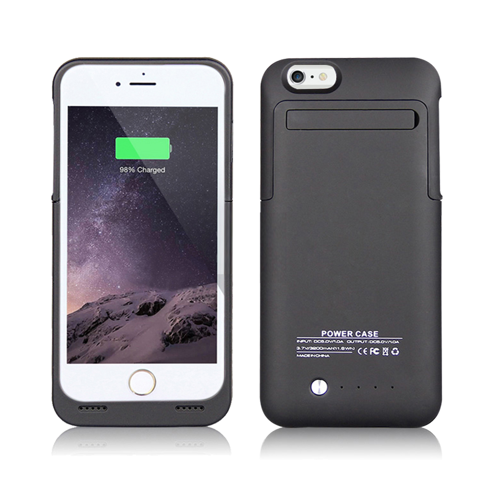 IPhone 6 / 6S Plus External Battery Backup Case Charger Power Bank 3500mAh Stand Black