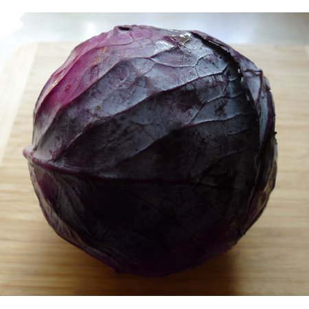 Mammoth Red Rock Cabbage -100 Seeds -Heirloom -Solid round heads -whopping 7 pounds- red throughout-fine flavor (Brillen Round Rock)