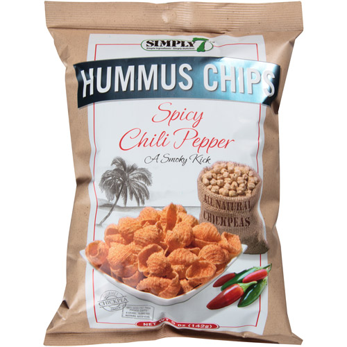 Simply 7 Spicy Chili Pepper Hummus Chips, 5 oz, (Pack of 12)