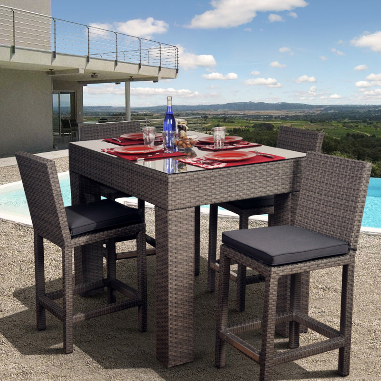 Atlantic Monza All-Weather Wicker Deluxe Bar Height Patio Dining Room Set Seats 4 by International Home Miami Corp