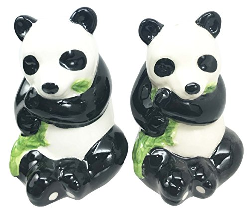Click here to buy Adorable Bamboo Loving China Giant Panda Bear Salt Pepper Shaker Set Ceramic Home and Kitchen Acessory by Gifts & Decors.