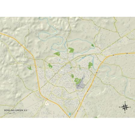 Political Map of Bowling Green, KY Print Wall Art ()