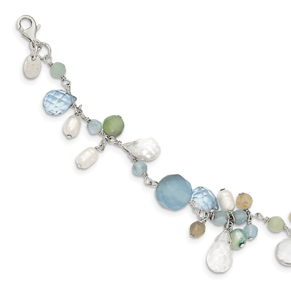 SS 7.5in B. Lace Agate/Opalite/Amazonite/Freshwater Cult. Pearl Bracelet