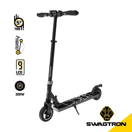SWAGTRON Swagger 8 Folding Electric Scooter for Kids & Teens   Lightweight E-Scooter for Young Adults w/ Kick-to-Start, Cruise Control   Adjustable Stem, Suspension, Quiet Motor (IPX4) ()