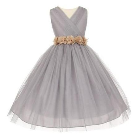 Big Girls Silver Champagne Chiffon Flowers Tulle Junior Bridesmaid Dress 14