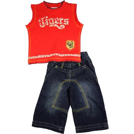 Mish Mish Baby Boys Infant Toddler Sleeveless Denim Jean 2 Piece Pant Sets, 17808 Red Tigers / 12Months (Infant 2 Piece Pant)
