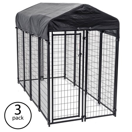- Lucky Dog Uptown Large Outdoor Covered Kennel Heavy Duty Dog Fence Pen (3 Pack)