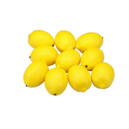 12 Pcs Fake Lemon, Fake Fruit Decoration, Faux Foods Lifelike Yellow Lemons Home Décor Kitchen Table Photography Prop - Halloween Food Table Decorations