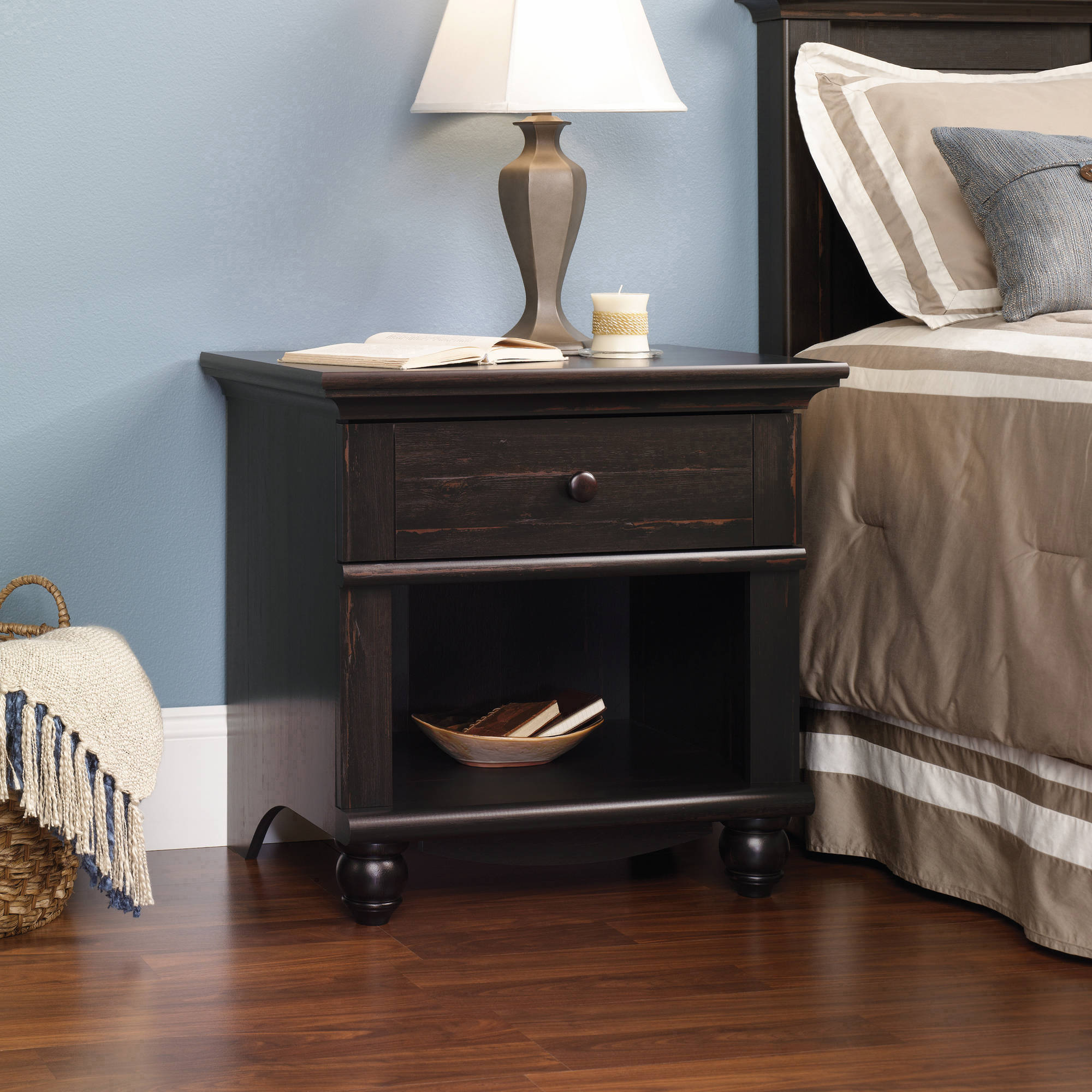 Sauder Harbor View Collection Nightstand, Antiqued Paint
