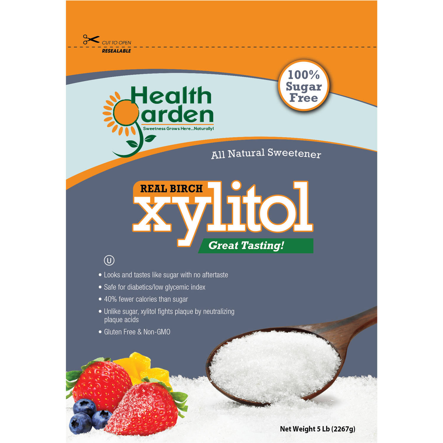 Health Garden Real Birch Xylitol All Natural Sweetener, 5 lbs