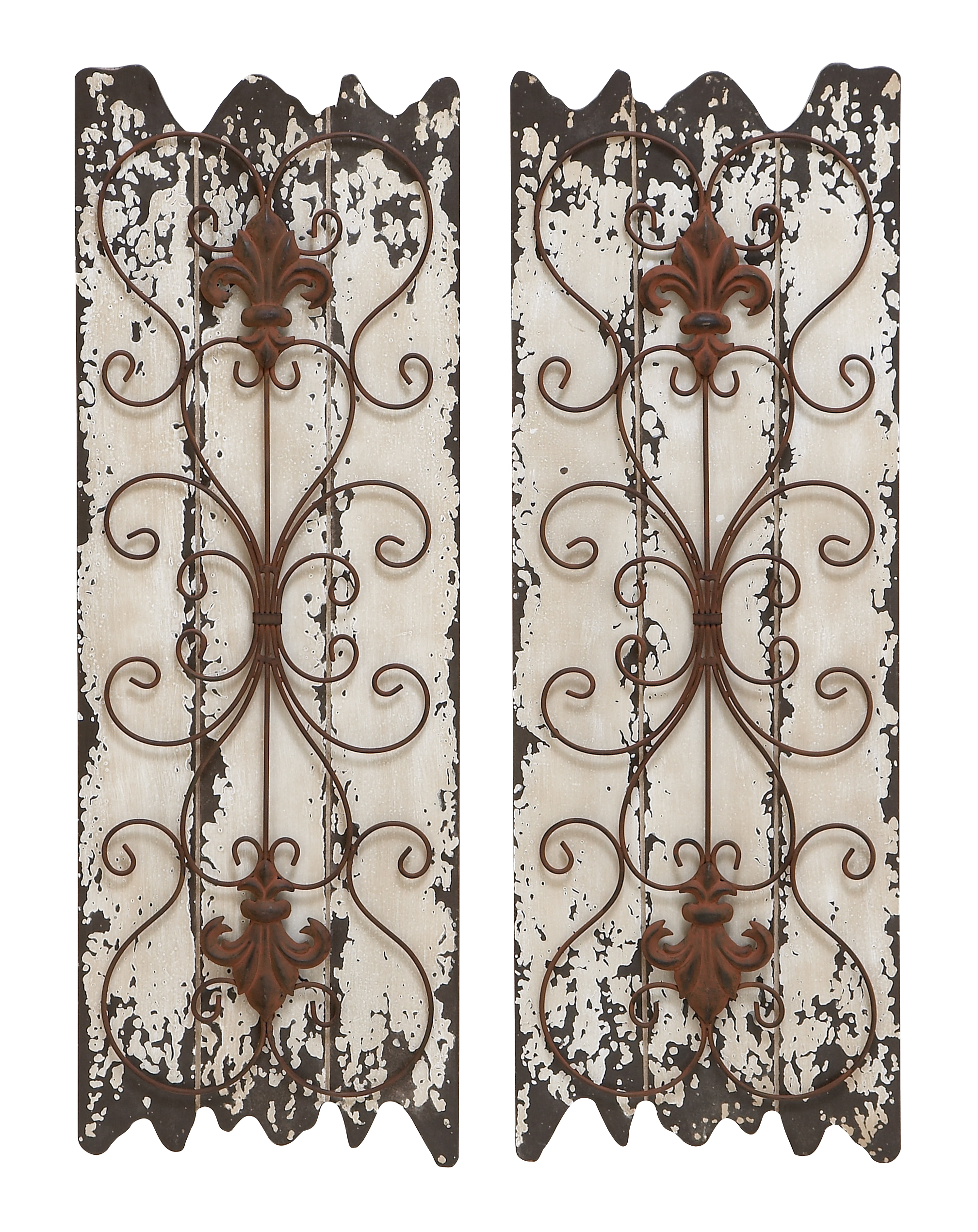 Decmode Rustic 32 Inch Wood and Metal Jagged-Edged Wall Decor Set of 2 by DecMode