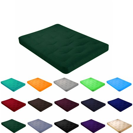 "4"" All Cotton Futon Mattress With Cover  Twin Size Hunter Green"