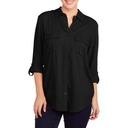 Faded Glory Women's 2-Pocket Button Up Blouse