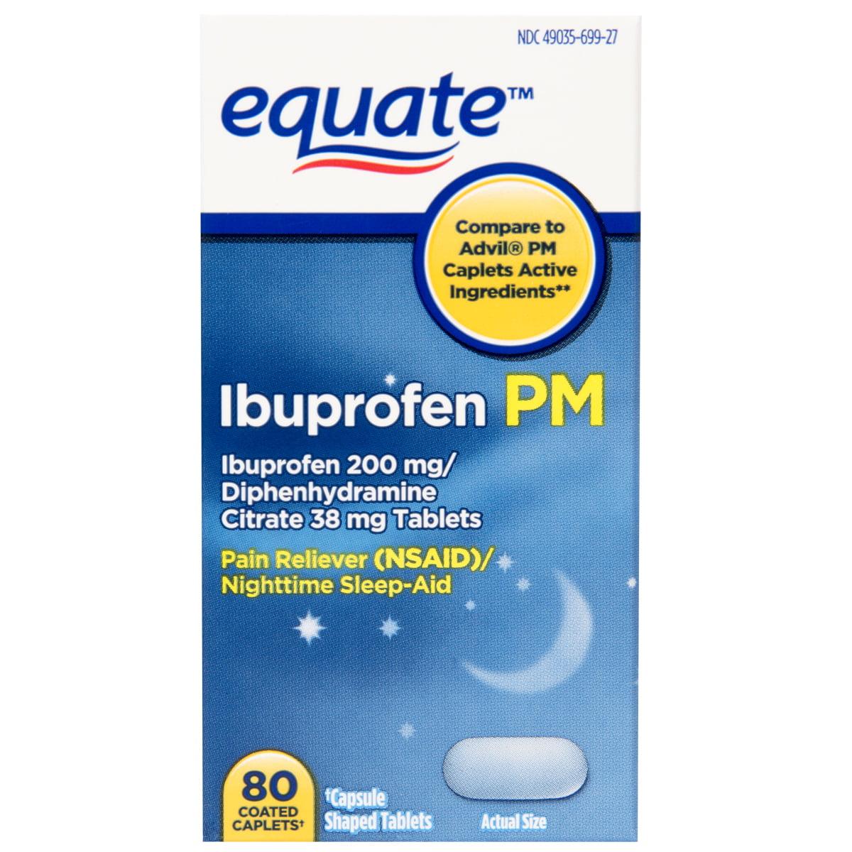 Equate Ibuprofen PM Coated Caplets, 80 count